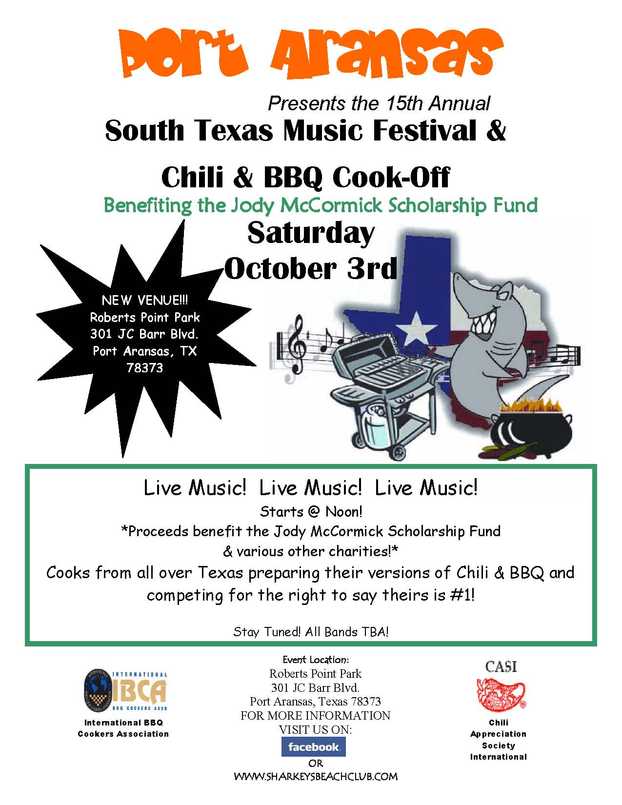 South Texas Music Fest Oct 3rd in Port Aransas, Texas.